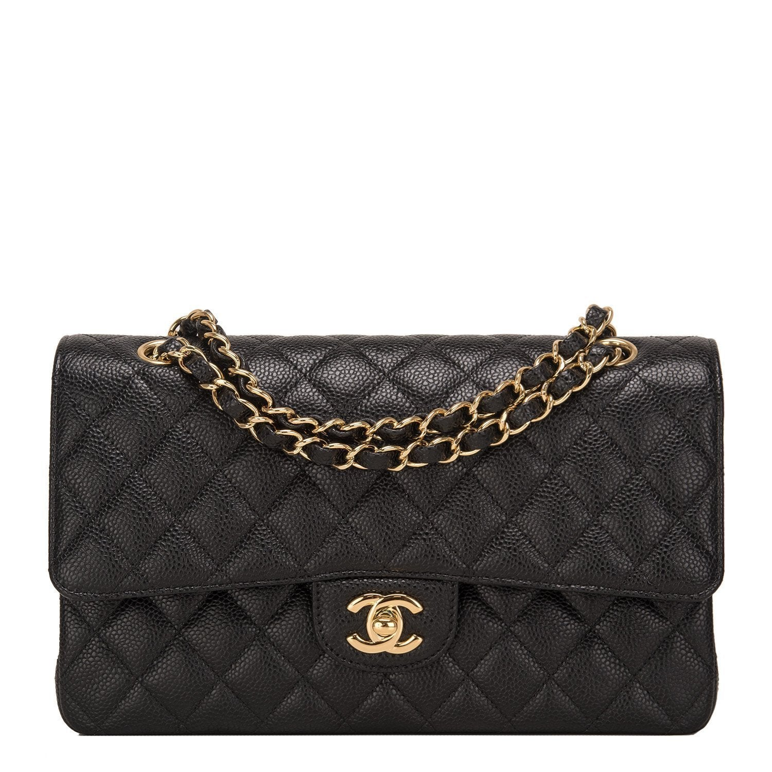 Chanel Black Quilted Caviar Medium Classic Double Flap Bag Handbags