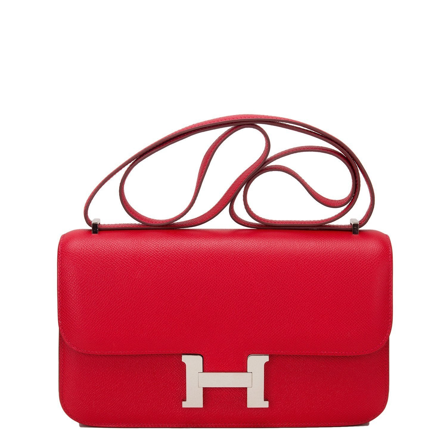 Hermes Rouge Casaque Epsom Constance Elan 25Cm Preloved Excellent Handbags