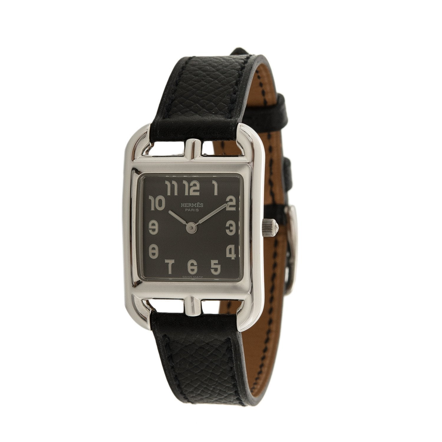 Hermes Black Leather Cape Cod Watch PM (Preloved - Excellent ... bcfa01e3504