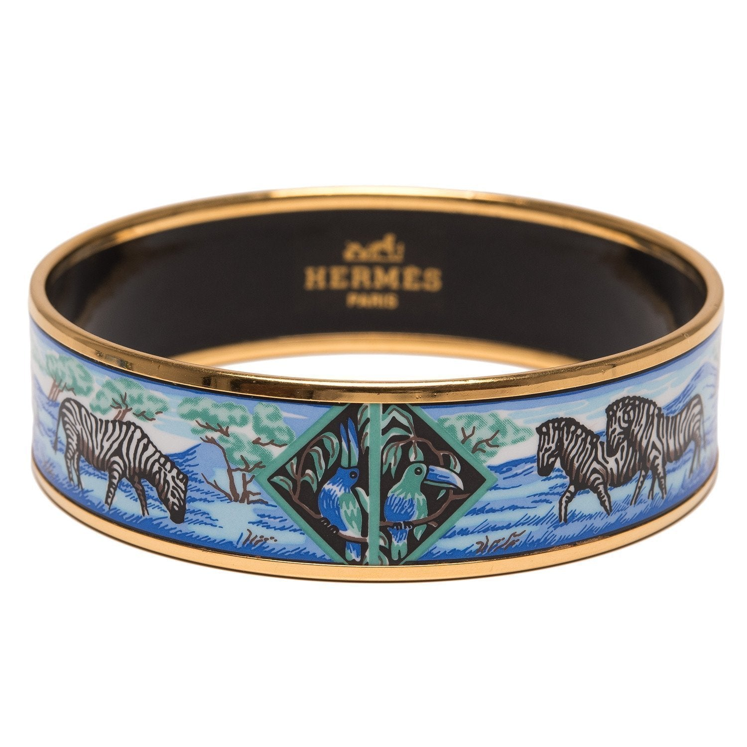 Hermes Zebras Wide Printed Enamel Bracelet Gm 70 Preloved Excellent Accessories