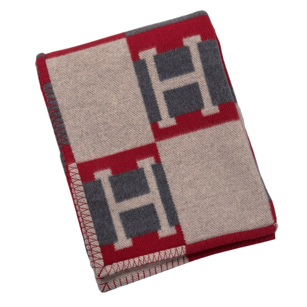 Hermes Avalon Bayadere Galet And Coquelicot Blanket