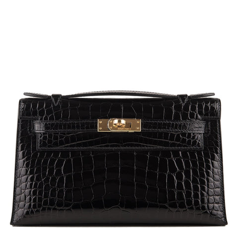 dc21b117edb9 Hermes Black Shiny Alligator Mini Kelly Pochette Handbags