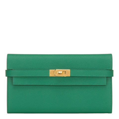 Hermes Vert Vertigo Epsom Kelly Long Wallet Accessories