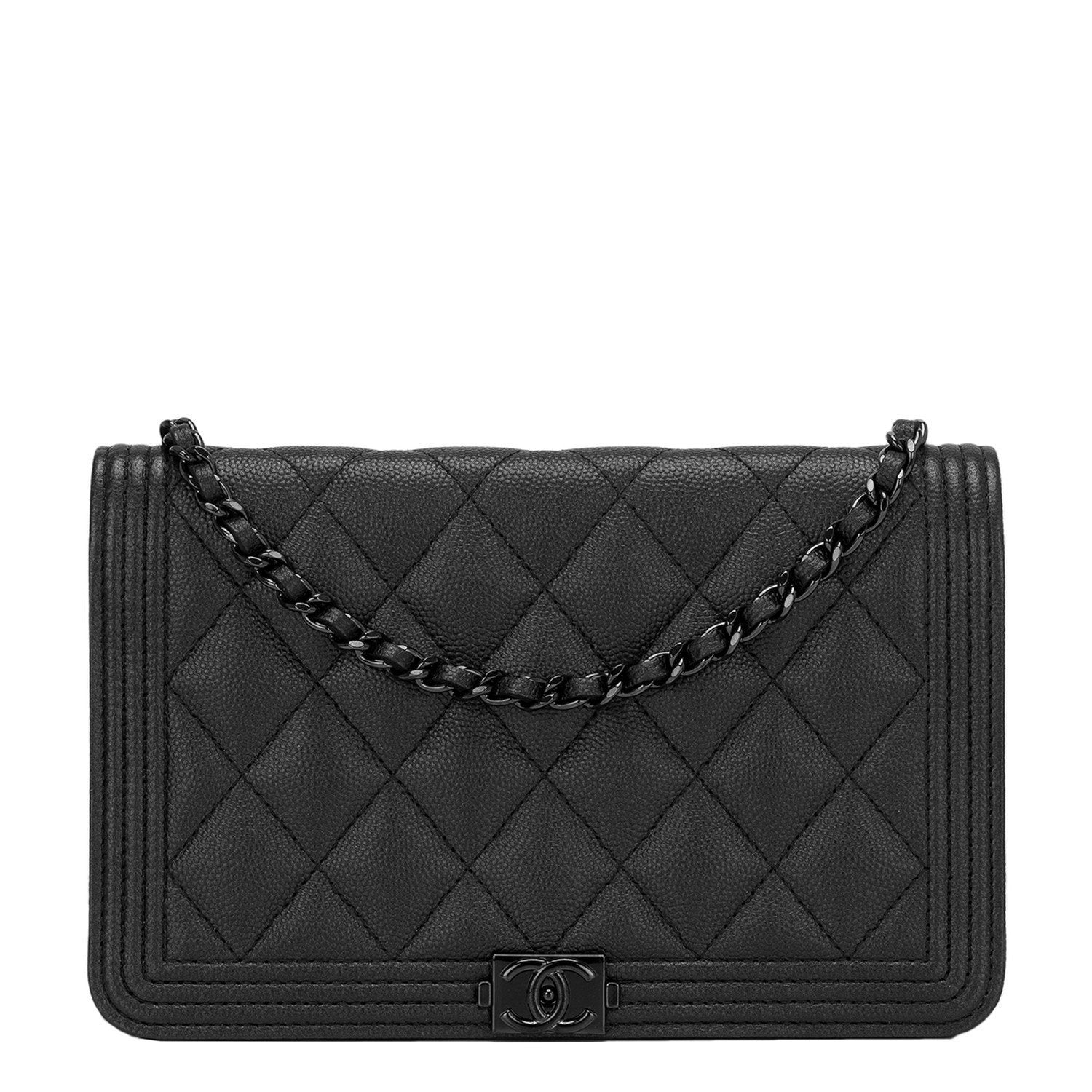 6ccc522aab1b Chanel SO Black Quilted Caviar Boy Wallet On Chain (WOC)
