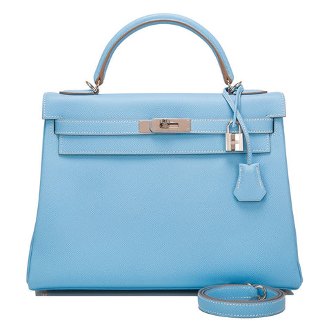 52ebdcb1ac98 Hermes Bi-color Celeste and Mykonos Epsom Retourne Candy Kelly 32cm