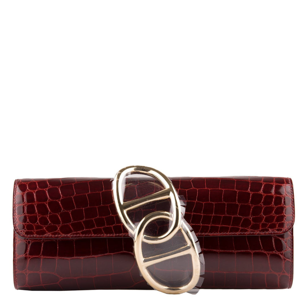 Hermes Bordeaux Shiny Niloticus Crocodile Egee Clutch Handbags