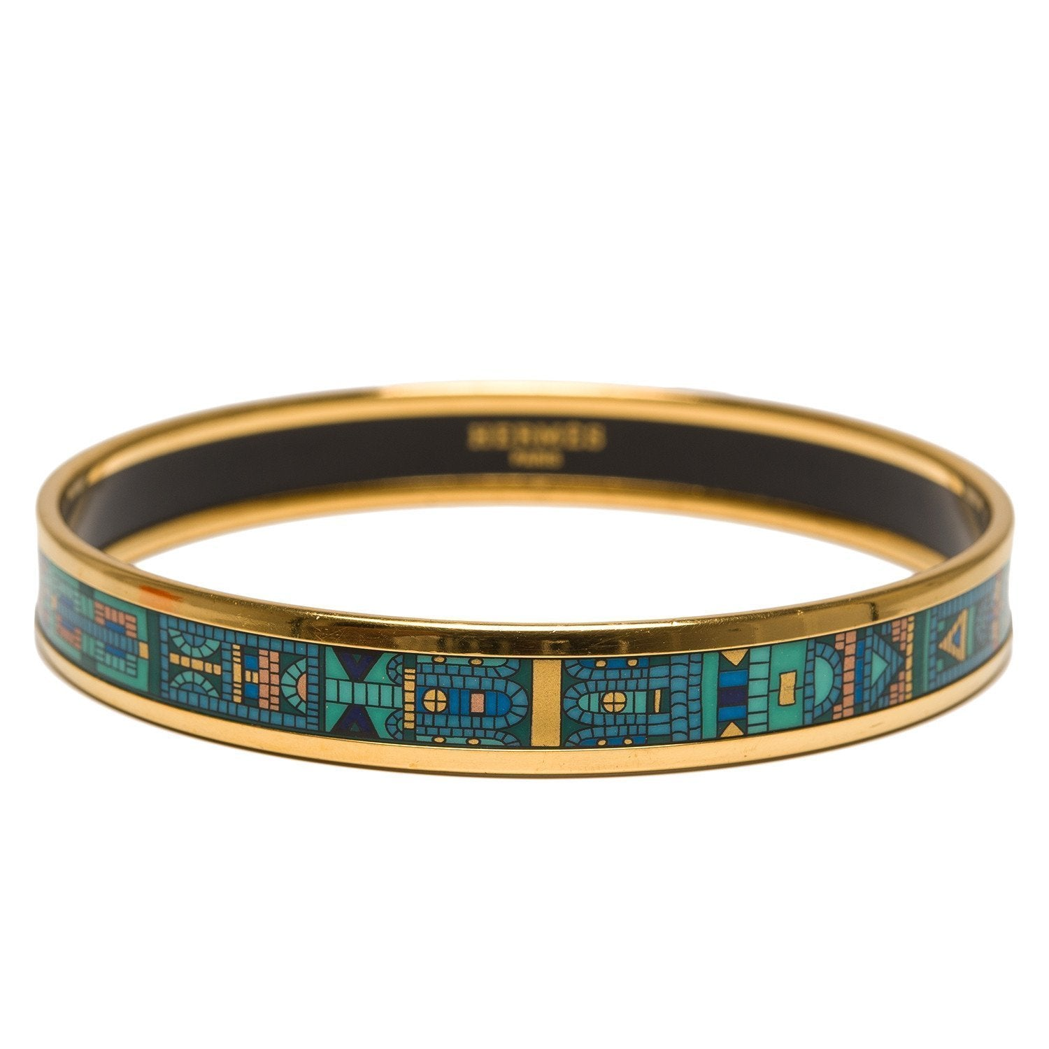 Hermes Mosaic Tiles Narrow Printed Enamel Bracelet Gm 70 Accessories