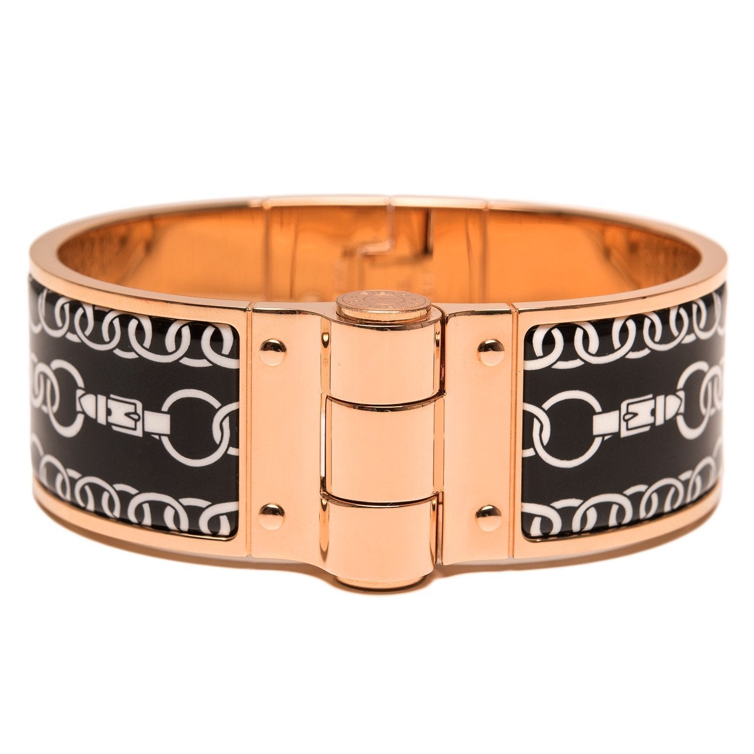 Hermes Balades Equestres Wide Printed Hinged Enamel Bracelet Medium Accessories