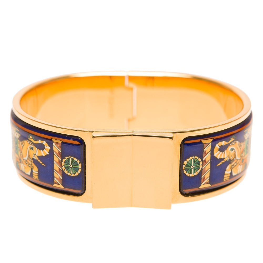 Hermes Rare Wide Torana Printed Enamel Loquet Bracelet Pm 65 Preloved Mint Accessories