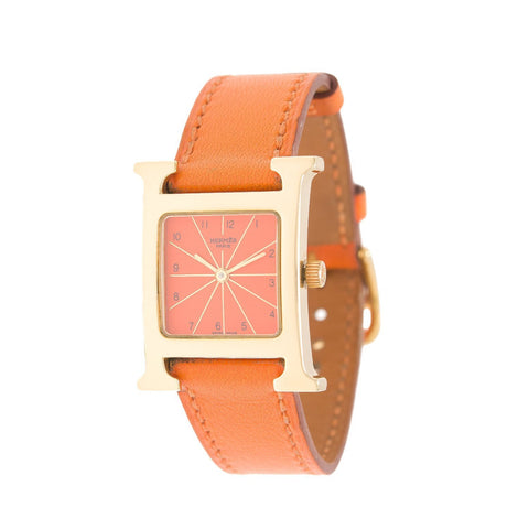 Hermes Orange H Hour Watch Pm Calfskin Leather Band Preloved Mint Accessories