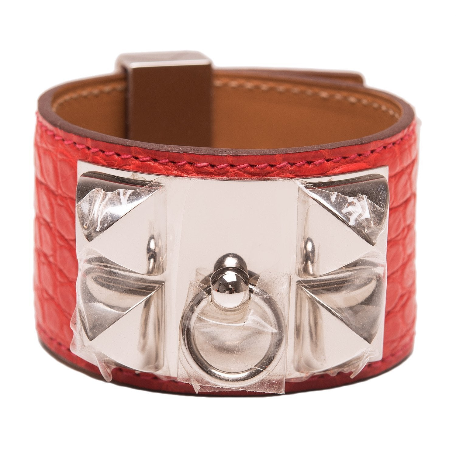 Hermes Geranium Alligator Collier De Chien Cdc Bracelet Small Accessories