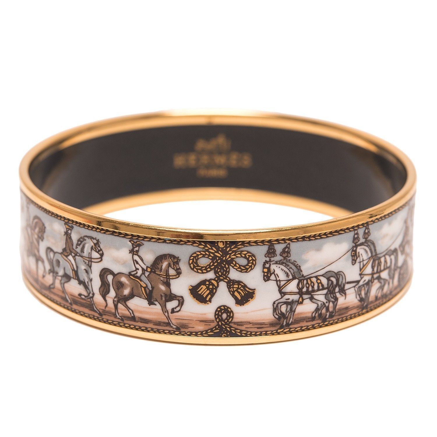 Hermes Horse And Carriage Printed Enamel Wide Bracelet Gm 70 Preloved Excellent Accessories
