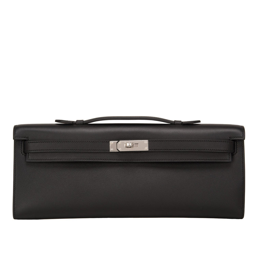 Hermes Black Swift Kelly Cut Palladium Hardware Handbags