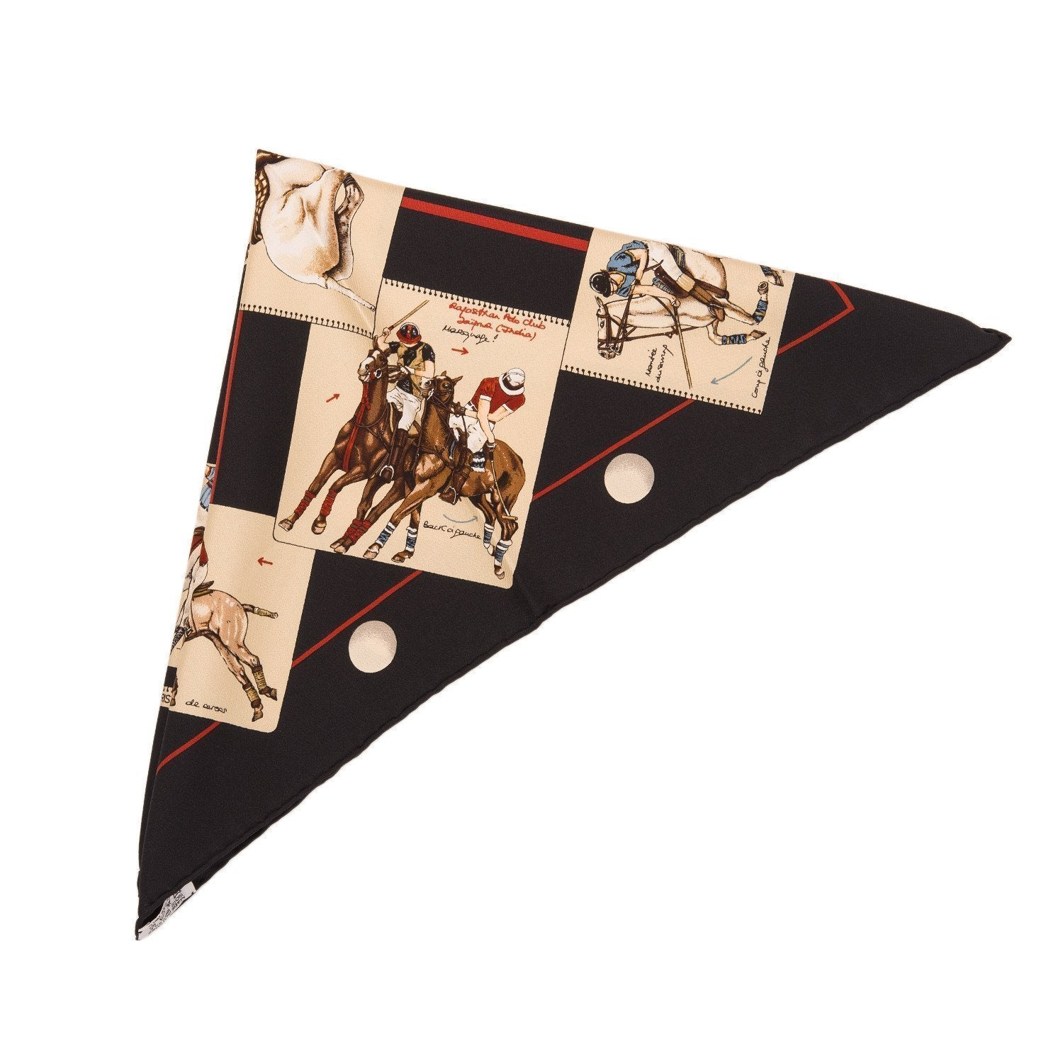 Hermes Le Monde Du Polo Silk Twill Pocket Square Scarf 45Cm Scarves