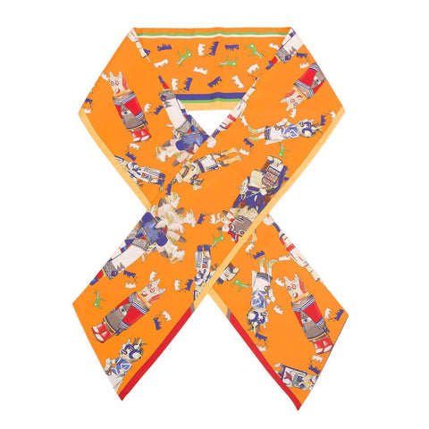 Hermes Kachinas Silk Twill Maxi Twilly Scarves