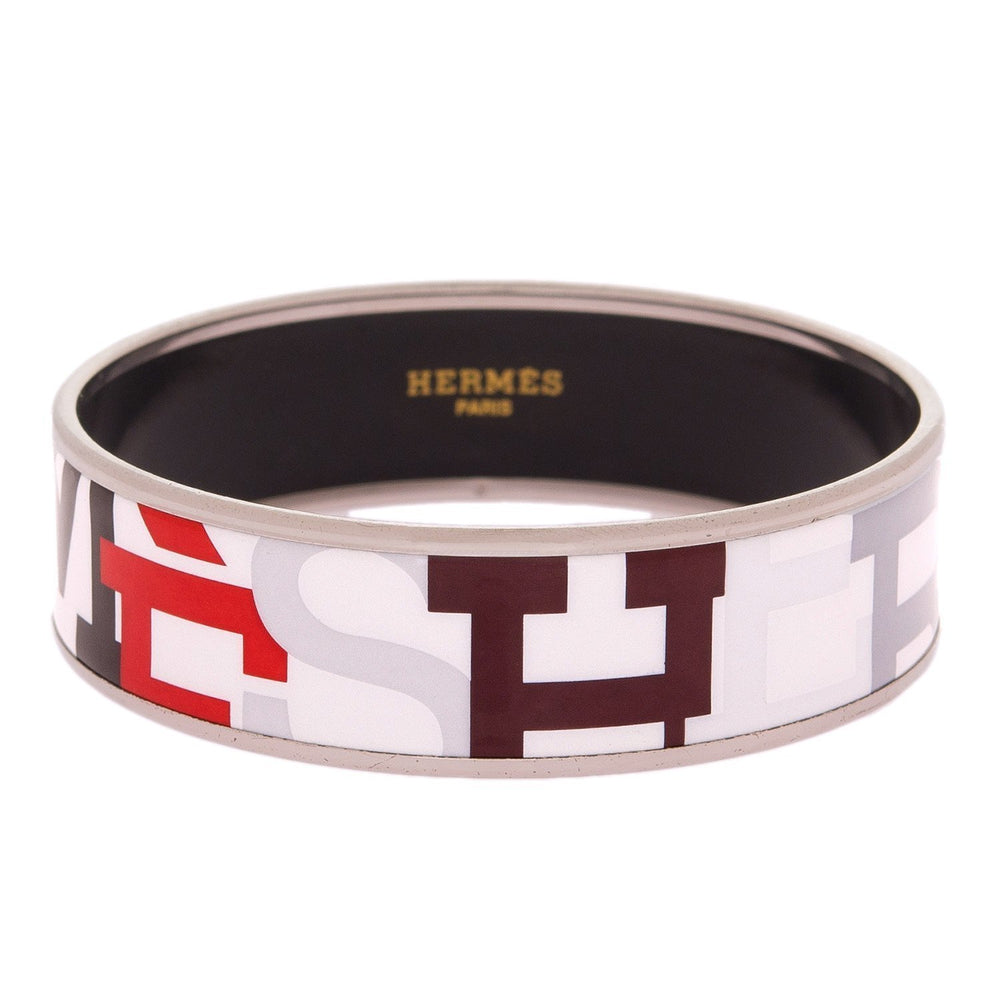 Hermes Capitales Wide Printed Enamel Bracelet Pm 65 Preloved Excellent Accessories