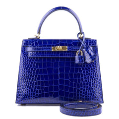 Hermes Blue Electric Shiny Alligator Kelly 25Cm Gold Hardware Handbags