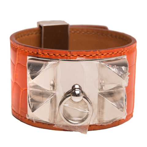 Hermes Orange H Alligator Collier De Chien Cdc Bracelet Small Accessories