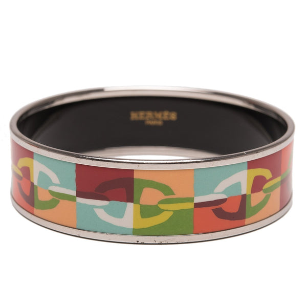 Hermes Optique Chaine Dancre Printed Enamel Wide Bracelet Pm 65 Preloved Excellent Accessories