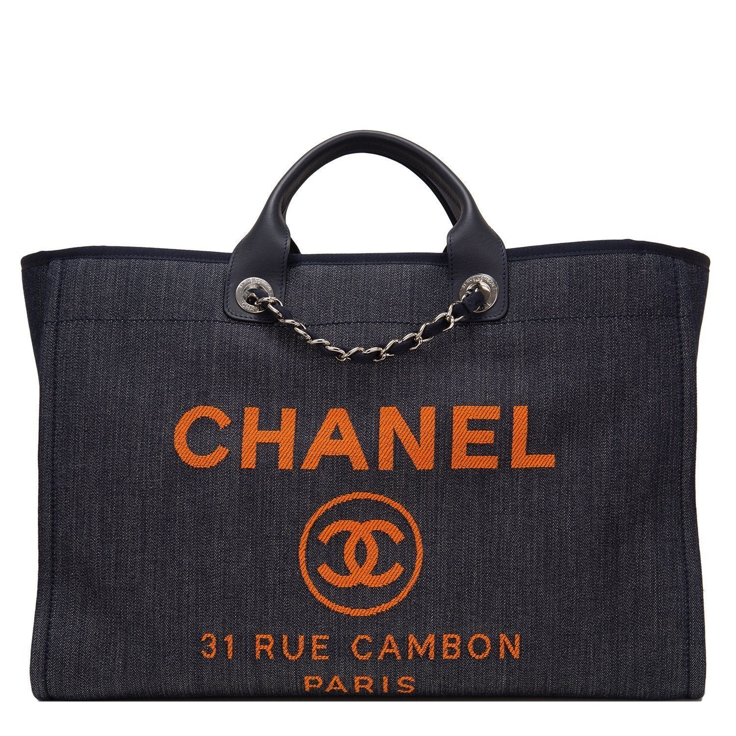 Chanel Large Blue Deauville Denim Tote Handbags