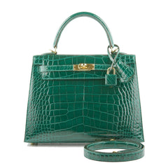 Hermes Emerald Shiny Alligator Kelly 25Cm Gold Hardware Handbags