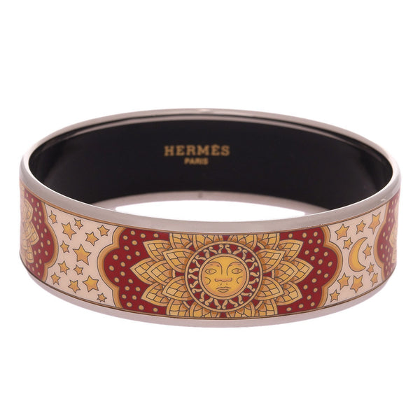 Hermes Sun Moon Stars Wide Printed Enamel Bracelet Pm 65 Preloved Mint Accessories