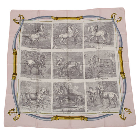 Hermes Rare Vintage Les Races De Chevaux Silk Twill Scarf 90Cm Preloved Excellent Scarves