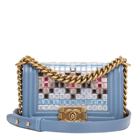 Chanel Blue Mosaic Embroidered Small Boy Bag Handbags