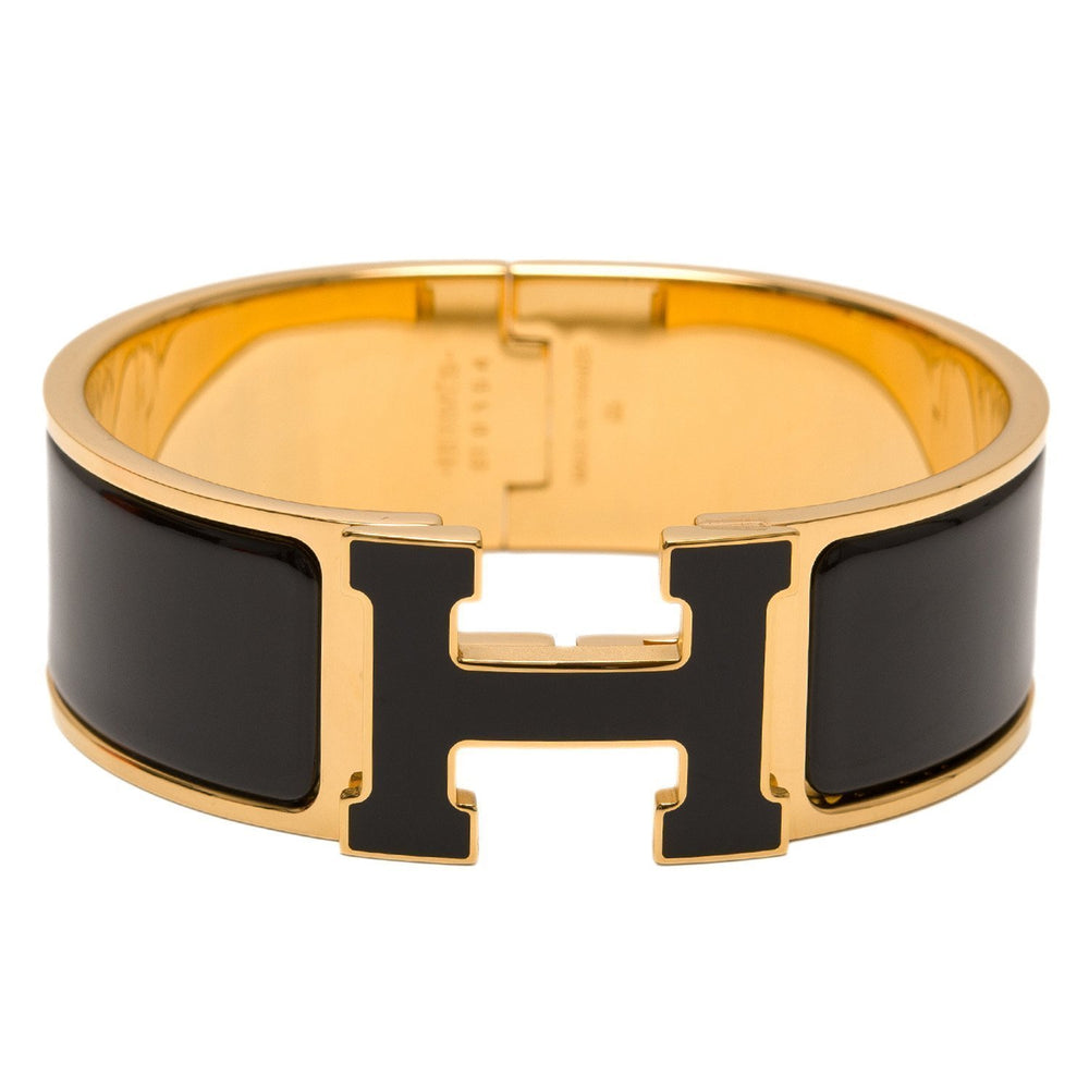 Hermes Black With Lacquer H Clic Clac Wide Enamel Bracelet Pm Accessories