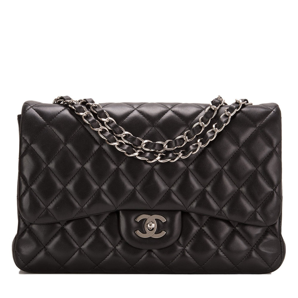 Chanel Black Quilted Lambskin Jumbo Single Flap Bag Handbags