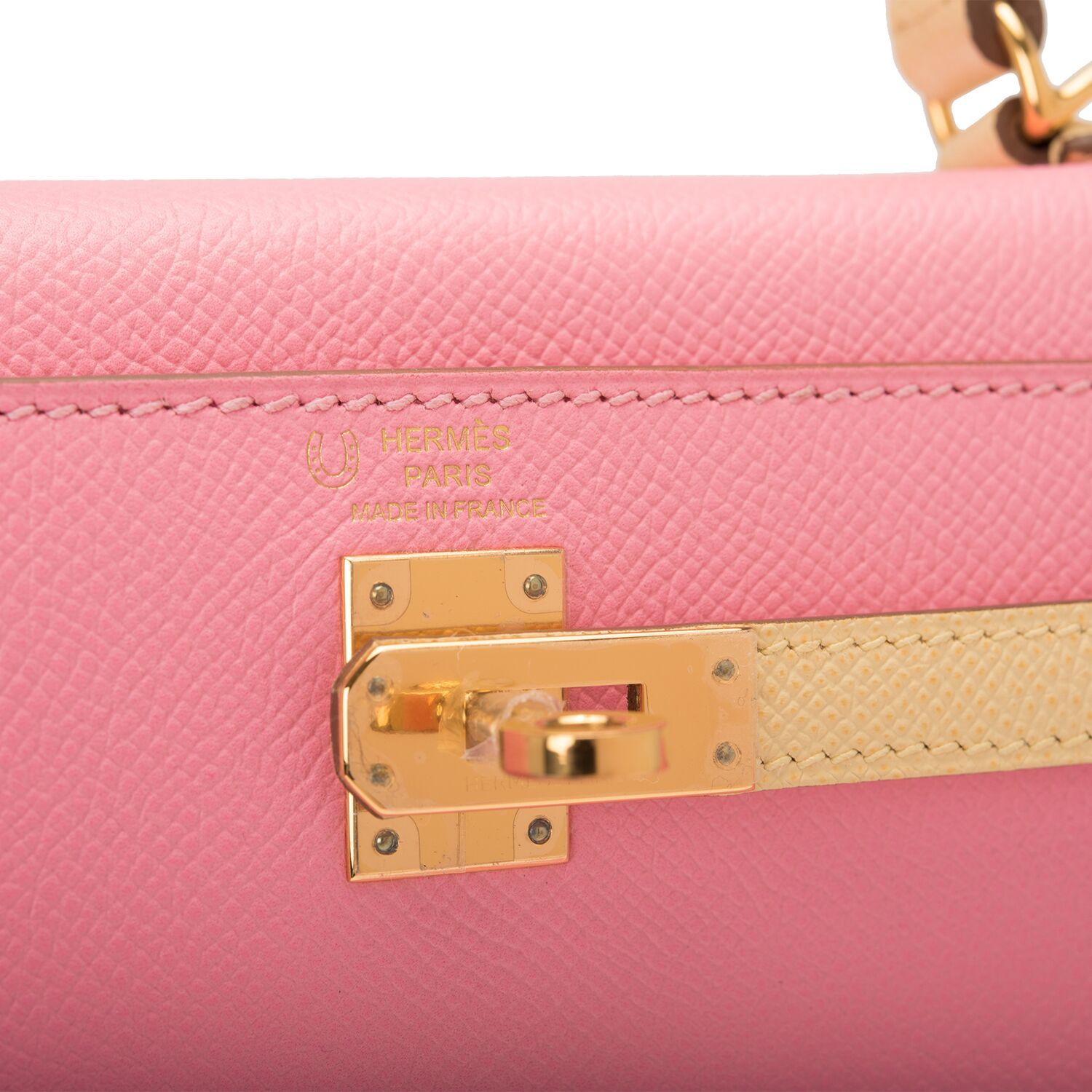 Hermes HSS Bi-Color Rose Confetti and Jaune Poussin Epsom Kelly 25cm Gold Hardware