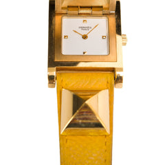 Hermes Medor Watch Pm Yellow Courchevel Leather Band Preloved Excellent Accessories