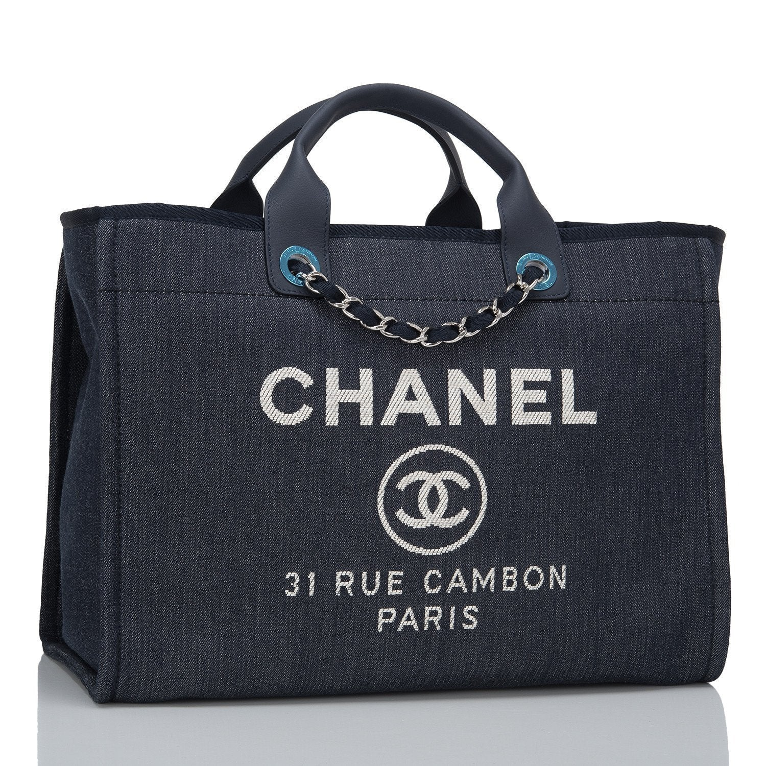 Chanel Dark Blue Denim Large Deauville Shopping Tote Handbags