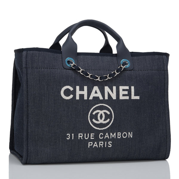 7a868d2d741b Chanel Dark Blue Denim Large Deauville Shopping Tote – Madison ...