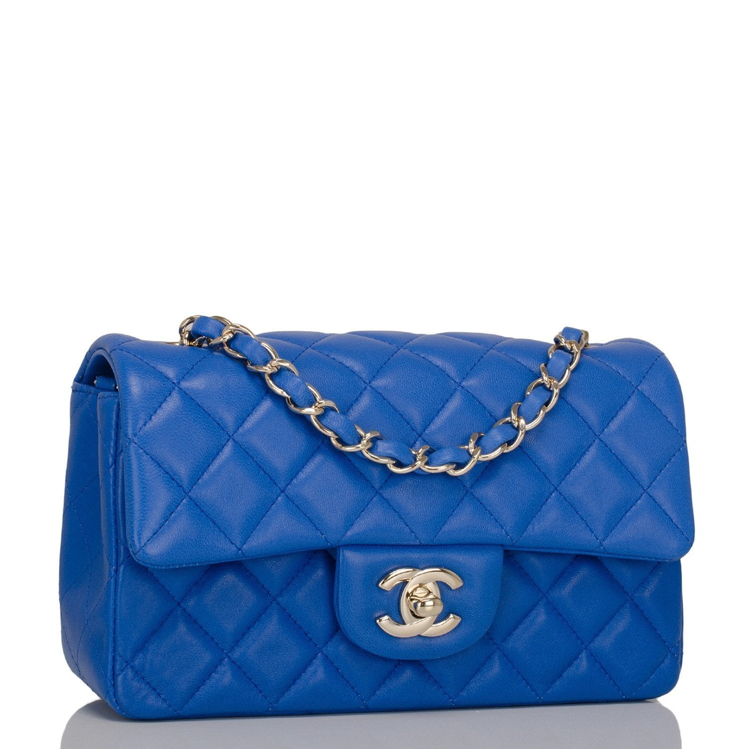 Chanel Blue Quilted Lambskin Rectangular Mini Classic Flap Bag Handbags