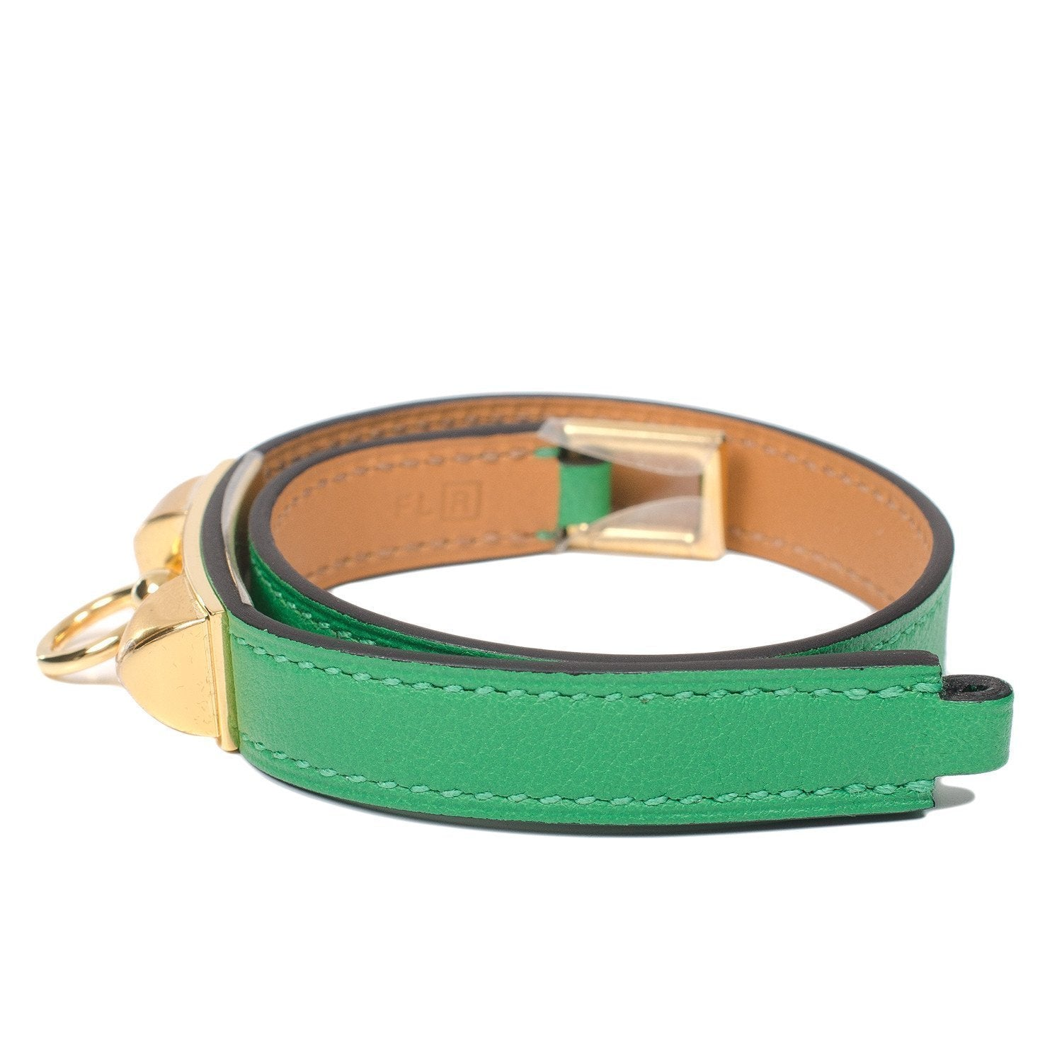 Hermes Bamboo Calfskin Leather Double Wrap Rivale Bracelet Accessories