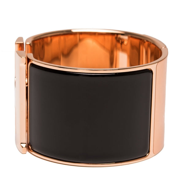 Hermes Black Enamel H Clic Clac Extra Wide Bracelet Pm Accessories