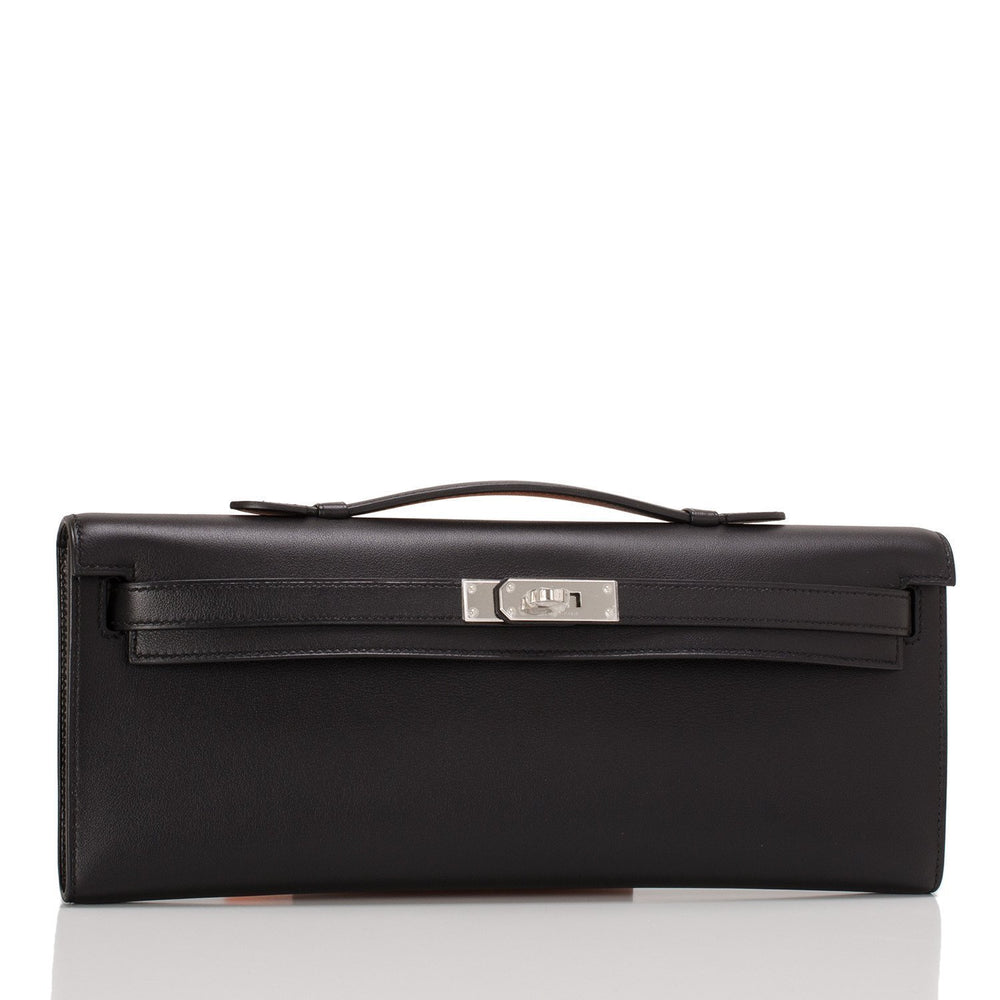 Hermes Black Kelly Cut Palladium Hardware Handbags
