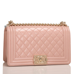 Chanel Light Pink Iridescent Calfskin Medium Boy Bag Handbags