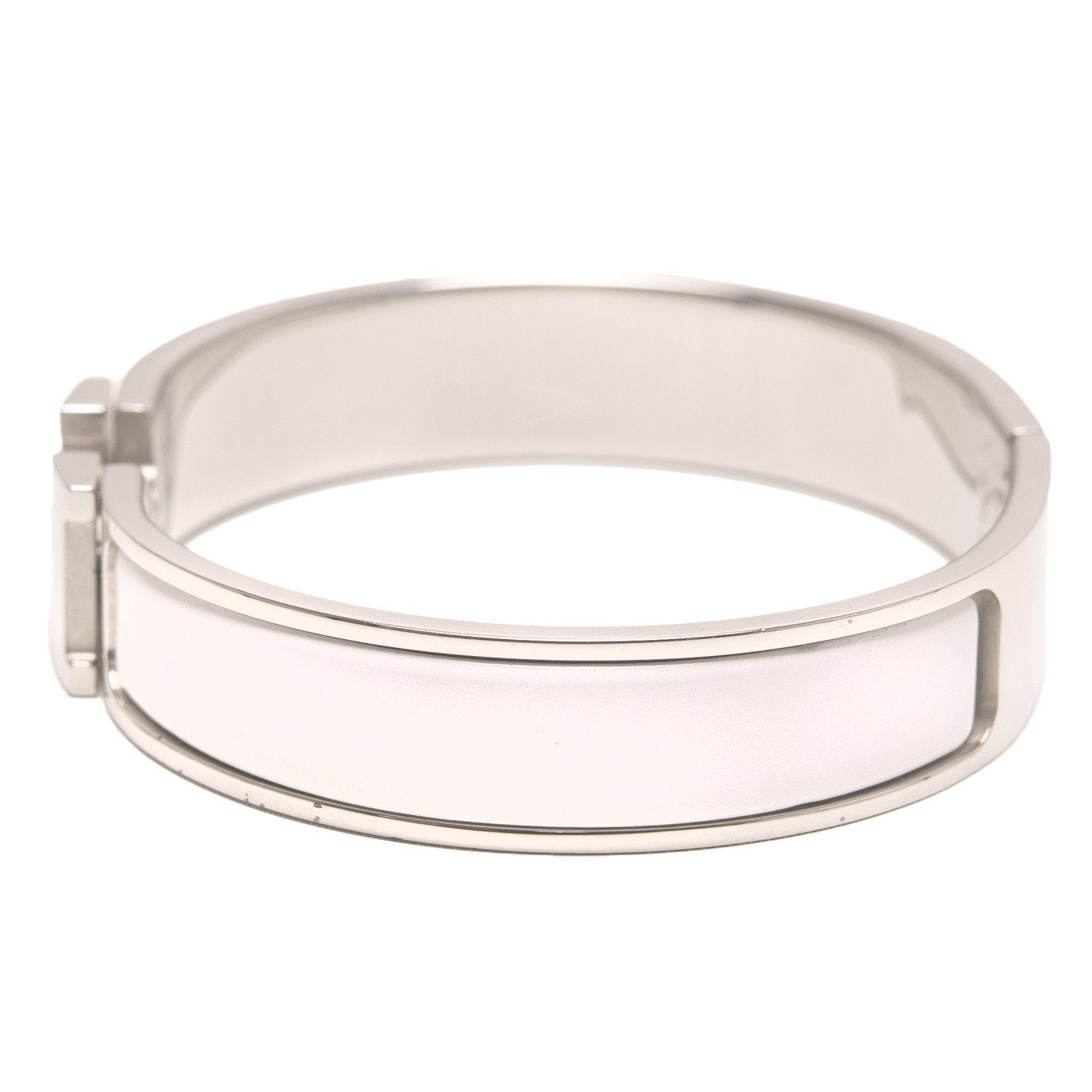 Hermes White Clic Clac H Narrow Enamel Bracelet Pm Accessories
