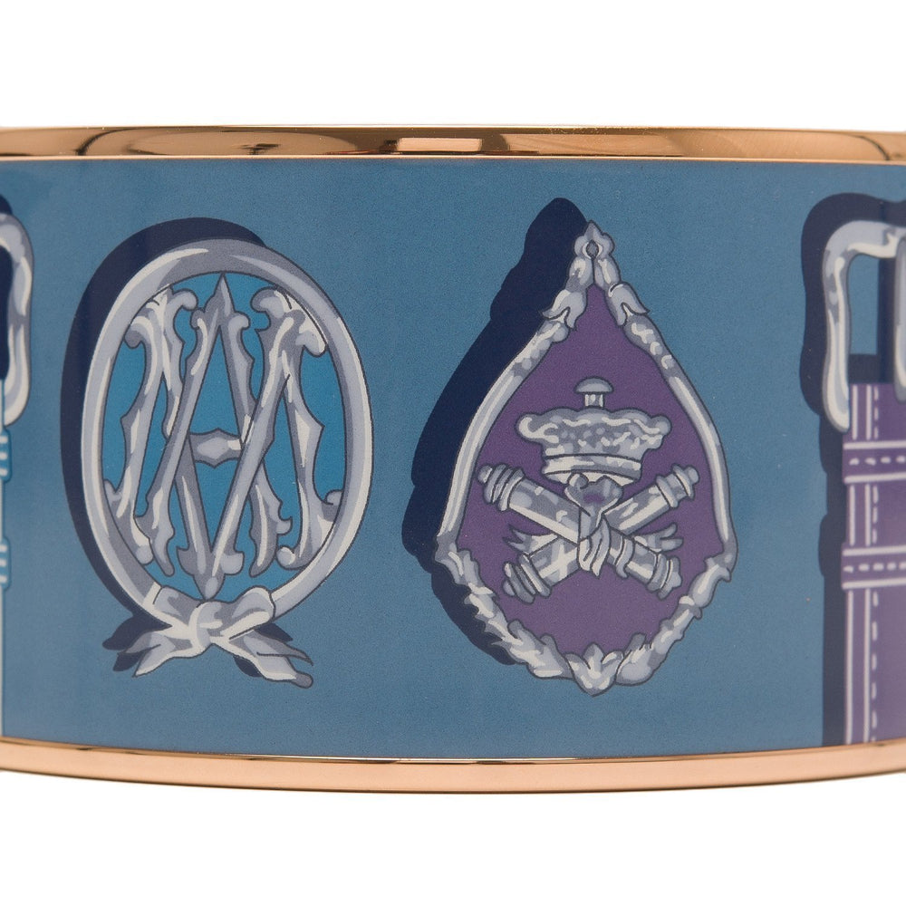 Hermes Harnais Des Presidents Extra Wide Printed Enamel Bracelet Pm 65 Accessories