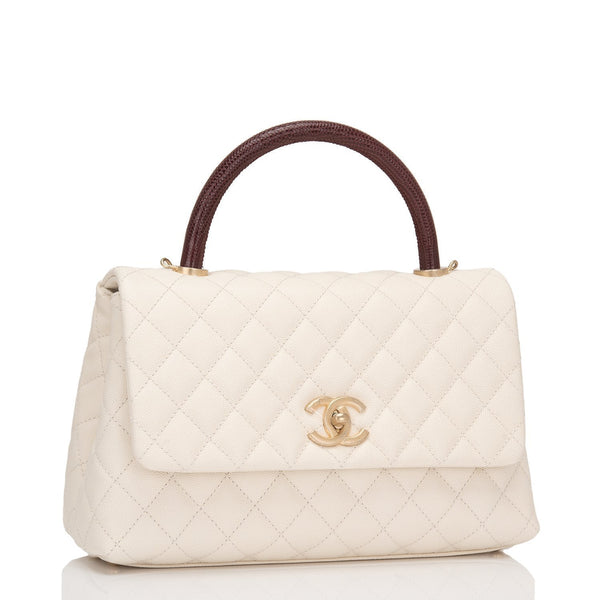 8d89d535e28a47 Chanel Ivory Calfskin and Lizard Small Coco Handle Bag – Madison ...