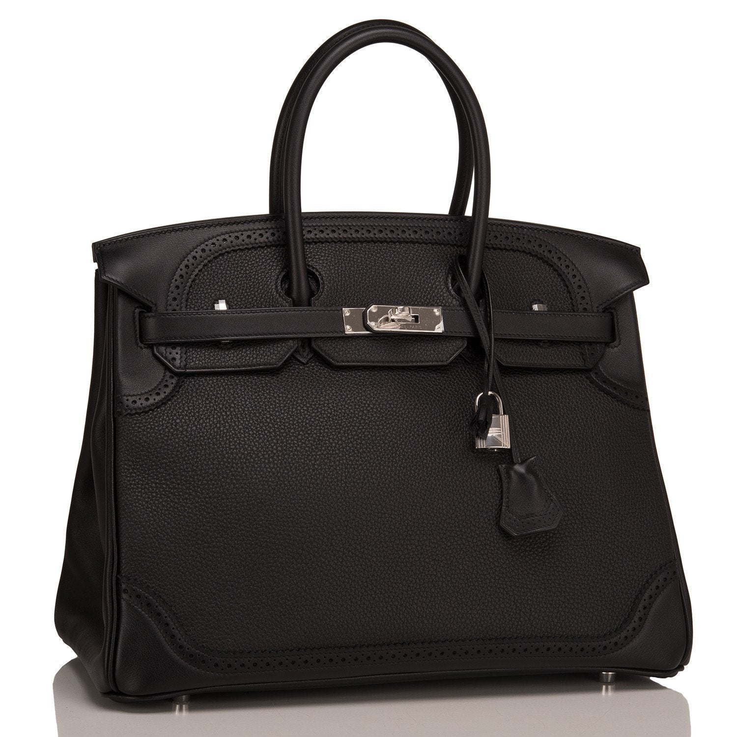 Hermes Black Togo Swift Ghillies Birkin 35Cm Palladium Hardware Handbags
