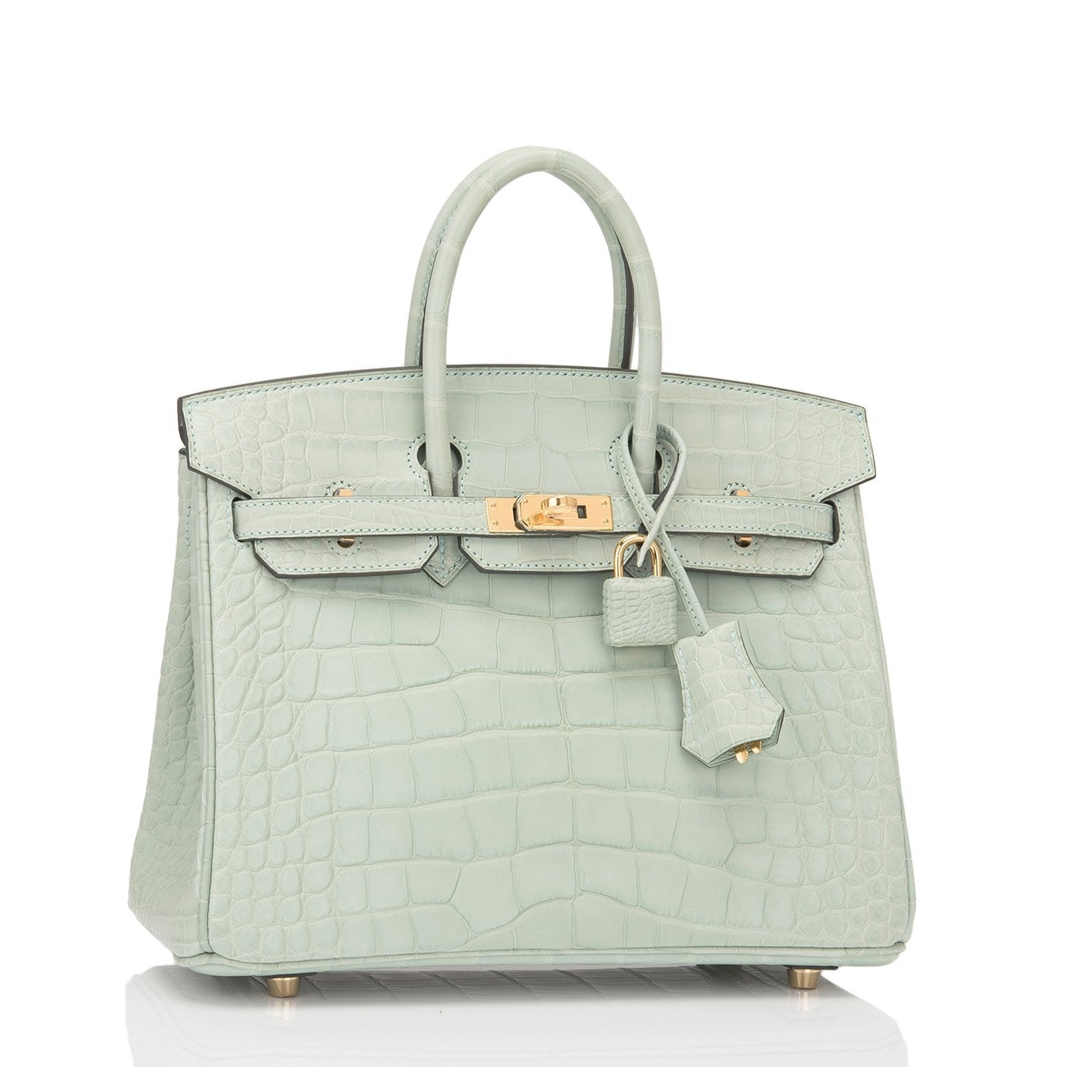 Hermes Vert Deau Matte Alligator Birkin 25Cm Gold Hardware Handbags