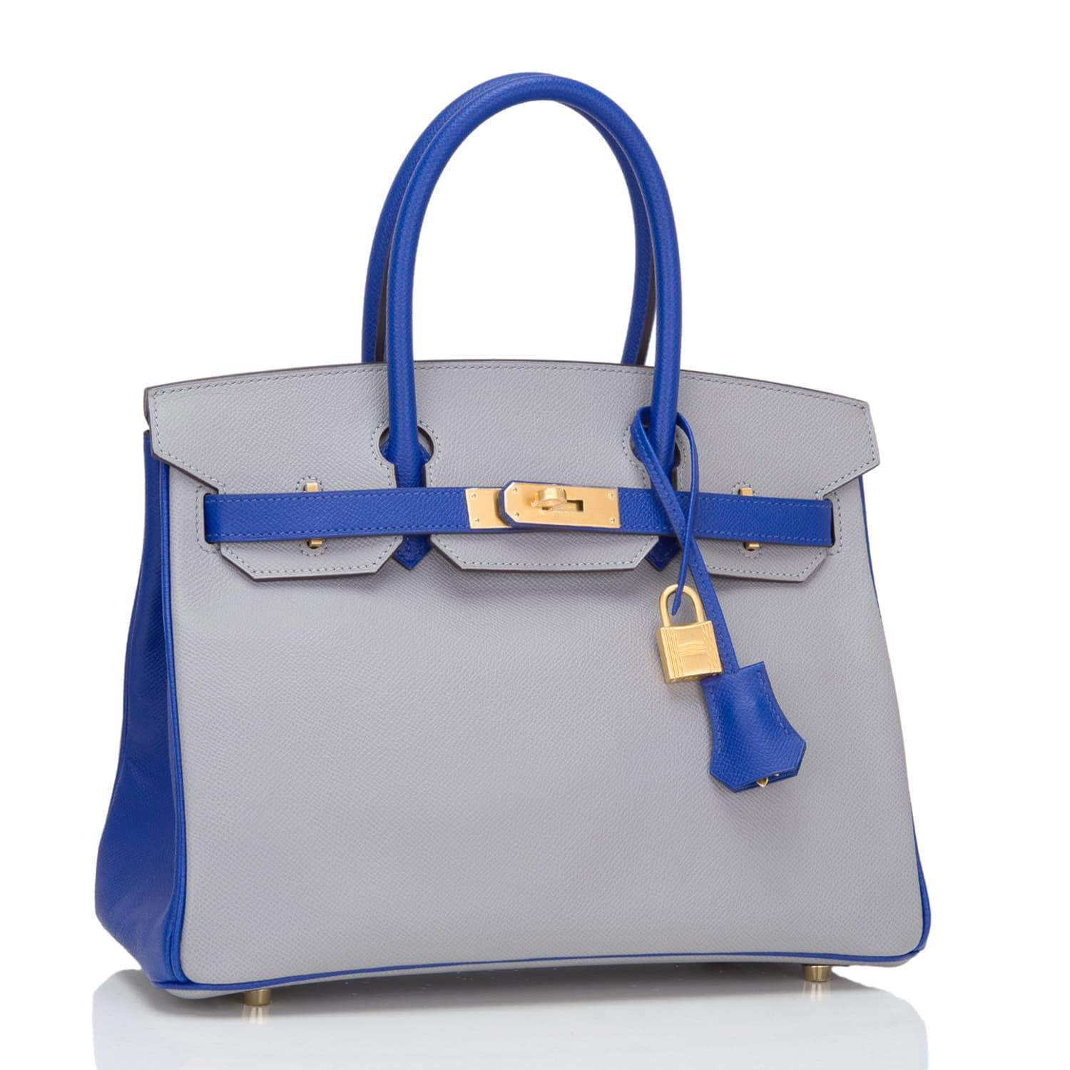 Hermes Hss Gris Mouette And Blue Electric Epsom Birkin 30Cm Brushed Gold Hardware Handbags