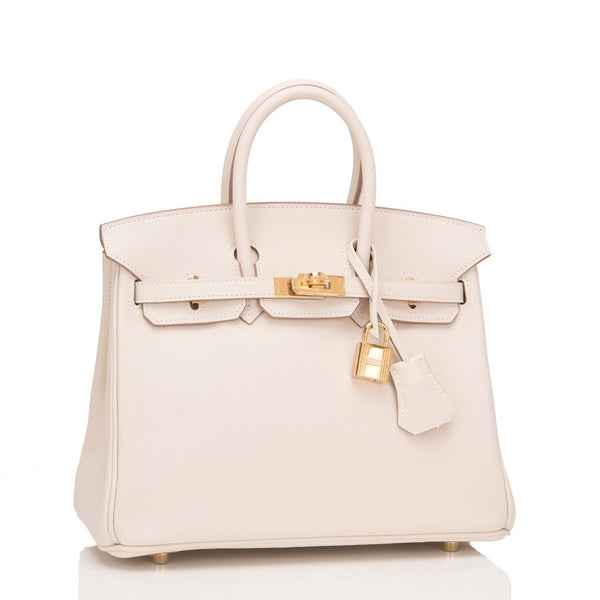 Hermes Craie Swift Birkin 25Cm Gold Hardware Handbags