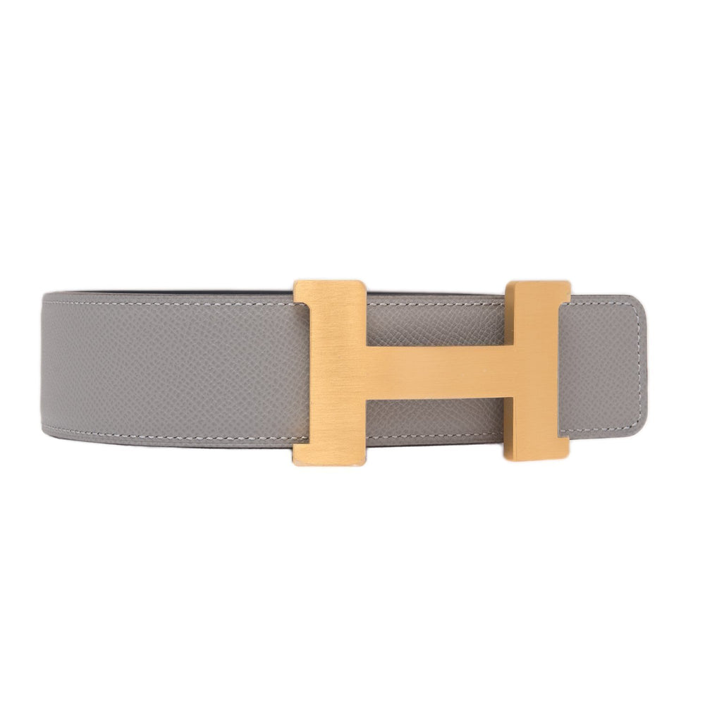 Hermes 42Mm Reversible Blue Nuitgris Mouette Constance H Belt 90Cm Brushed Gold Buckle Accessories