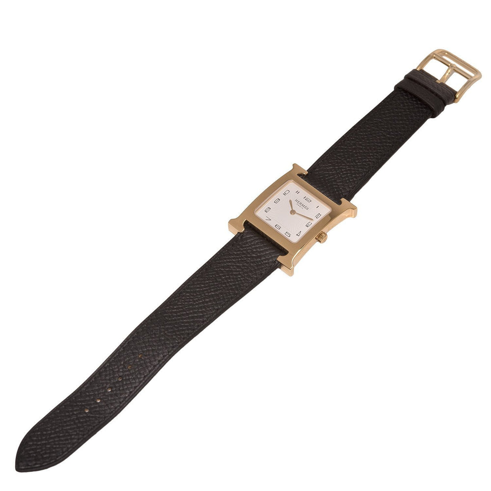 Hermes H Hour Watch Mm Black Epsom Leather Band Accessories