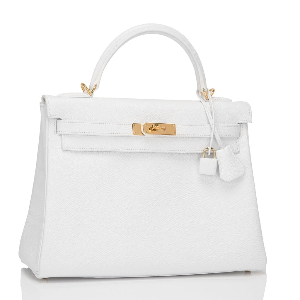 Hermes White Epsom Retourne Kelly 32Cm Gold Hardware Preloved Mint Handbags
