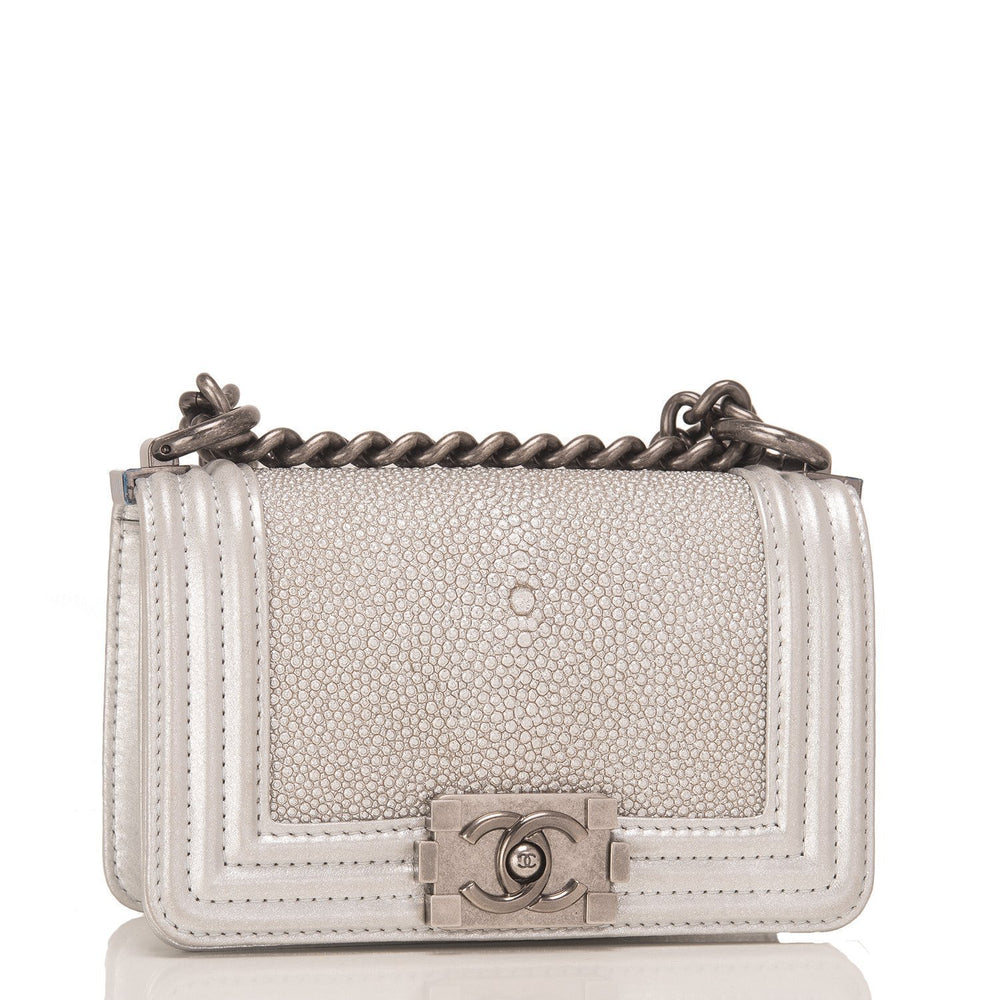 Chanel Silver Stingray Mini Boy Bag Handbags